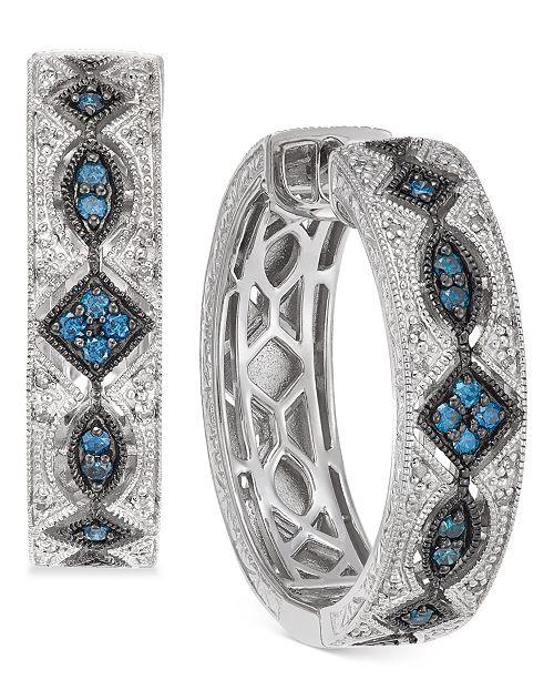 Macy's Diamond Patterned Huggie Hoop Earrings (3/8 ct. t.w.) in Sterling Silver