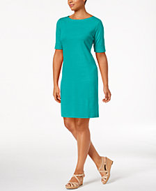 Karen Scott Petite Cotton Boat-Neck Shift Dress, Created for Macy's