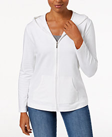 Karen Scott Solid Hooded Jacket, Created for Macy's