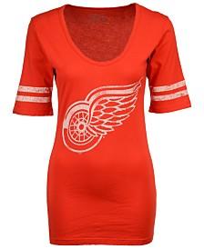 Retro Brand Women's Detroit Red Wings Vintage Sleeve Stripe T-Shirt