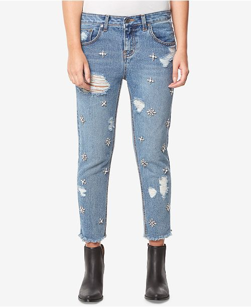 Buffalo David Bitton Cotton Embellished Destructed Boyfriend Ankle Jeans