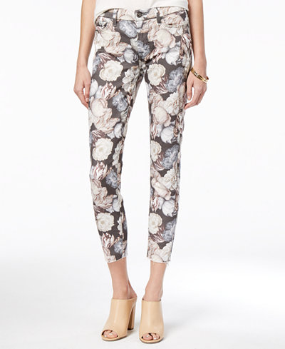 7 For All Mankind Ankle Skinny with Floral-Print Jeans