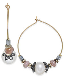 Paul & Pitü Naturally Tri-Tone Freshwater Pearl (10 x 7mm) & Bead Hoop Earrings