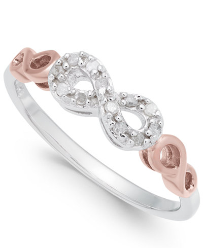 Diamond Infinity Ring (1/10 ct. t.w.) in Sterling Silver and Rose Gold-Plate