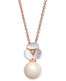 kate spade new york Rose Gold-Tone Pavé & Imitation Pearl Pendant Necklace