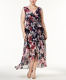 Sangria Plus Size Printed Ruffle Maxi Dress