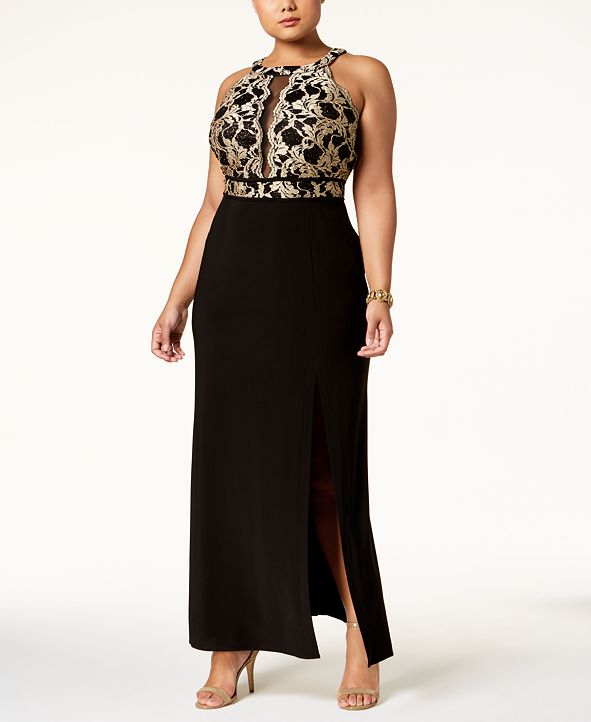 Nightway Plus Size Illusion-Inset Gown