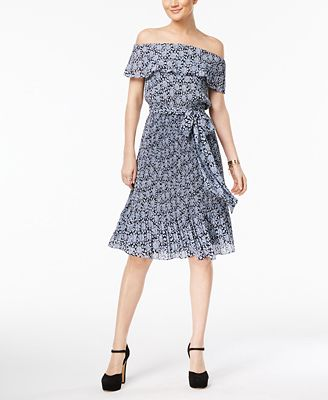 MICHAEL Michael Kors Pleated Off-The-Shoulder Dress