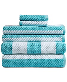 Rugby Cotton 6-Pc. Textured Stripe Towel Set