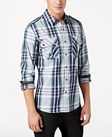 GUESS Men's Dual-Pocket Plaid Shirt