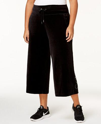 Calvin Klein Performance Plus Size Wide-Leg Velour Active Pants