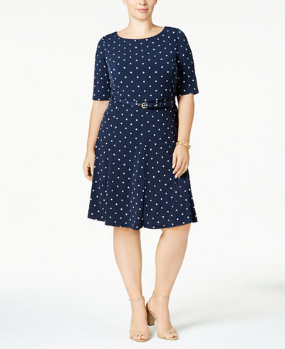 Charter Club Plus Size Belted A-Line Dress, Created for Macy's