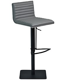 Cafe Adjustable Swivel Barstool in Gray Faux Leather with Black Metal Finish and Gray Walnut Veneer Back