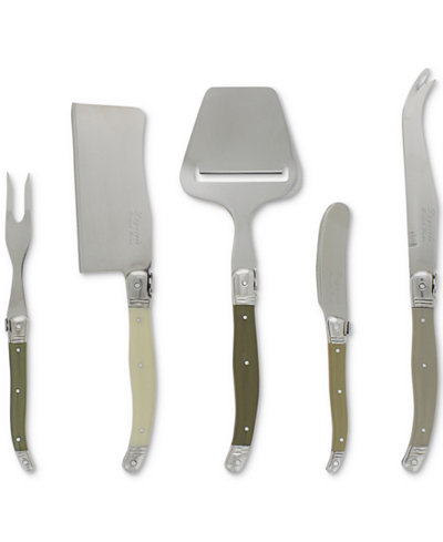 French Home Laguiole Mist 5-Pc. Cheese Knife & Fork & Slicer Set