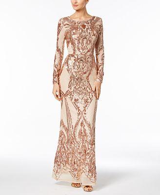 Betsy Adam Sequined Gown Dresses Women Macys