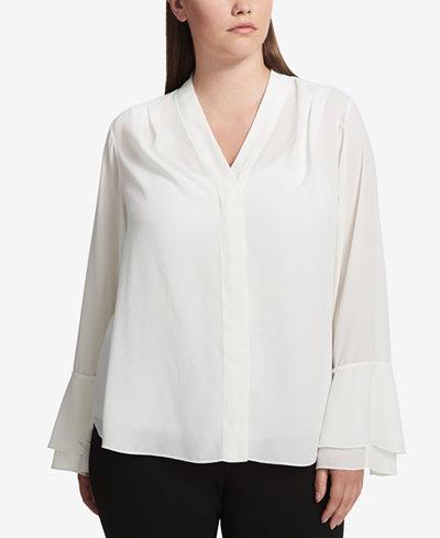 Calvin Klein Plus Size Tie Bell-Sleeve Top