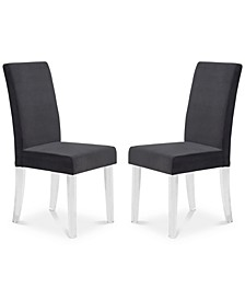 Dalia Modern and Contemporary Dining Chair in Black Velvet with Acrylic Legs - Set of 2