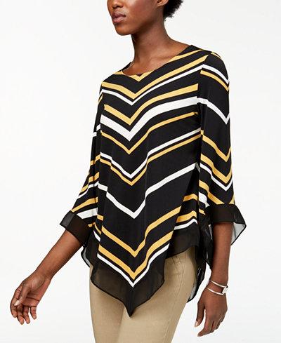 Alfani Petite Striped V-Hem Top, Created for Macy's