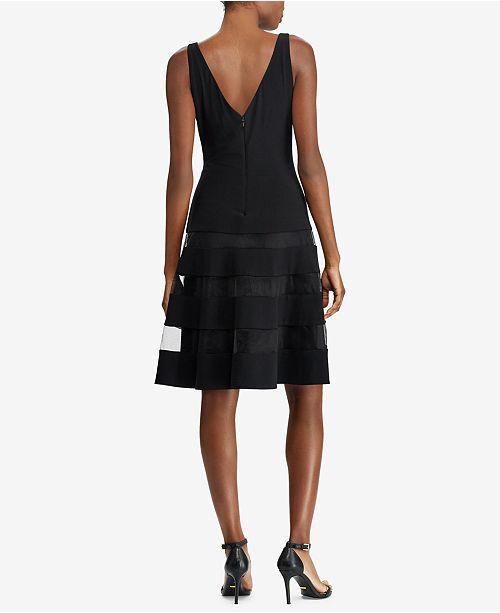 Lauren Ralph Lauren Tulle Trim Fit Flare Dress Dresses Women
