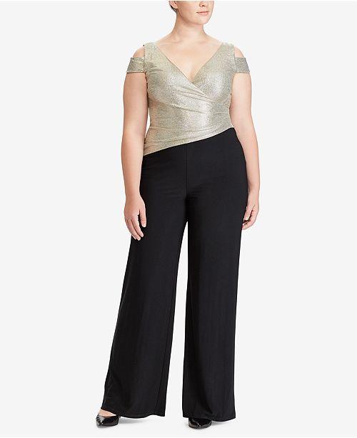 1c0233096da Lauren Ralph Lauren Plus Size Metallic Cold-Shoulder Jumpsuit ...