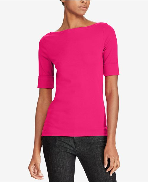 fa630bcf42bedb Lauren Ralph Lauren Boat-Neck T-Shirt & Reviews - Tops - Women ...