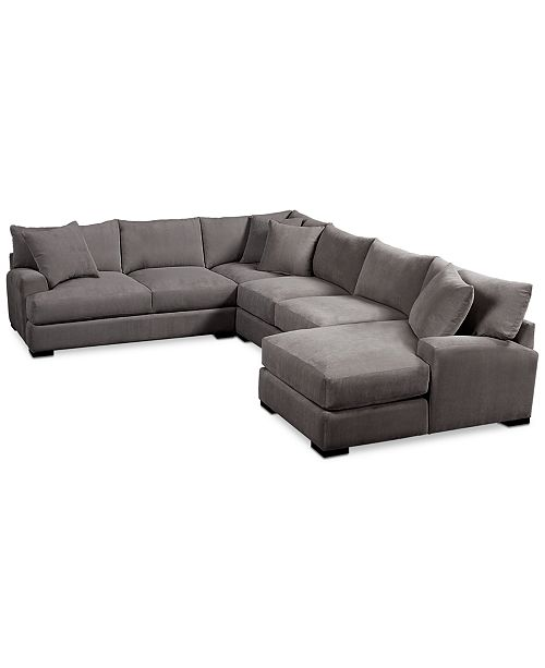 Furniture Rhyder 5 Pc Fabric Sectional Sofa With Chaise
