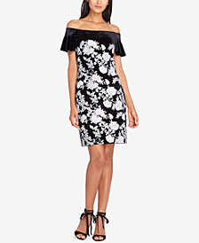 Tahari ASL Sequined Velvet Off-The-Shoulder Dress