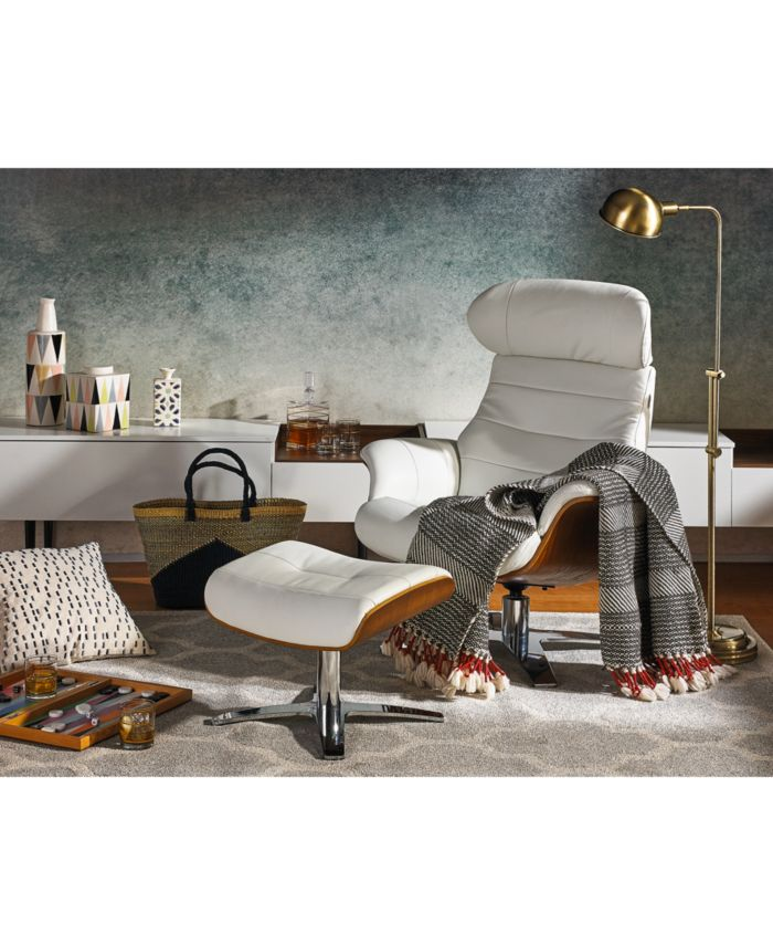 """Furniture Anniston 31"""" Leather Swivel Chair Recliner & Reviews - Recliners - Furniture - Macy's"""