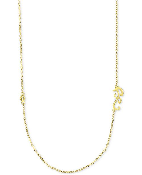Macy's Diamond Accent Initial Pendant in 18k Gold-Plated Sterling Silver