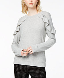 Maison Jules Crew-Neck Ruffled Sweatshirt, Created for Macy's