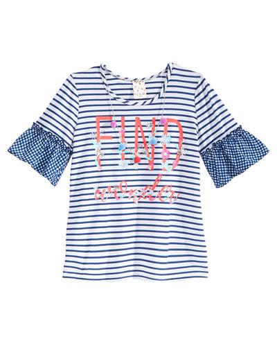 Belle Du Jour Find Wonder Striped Bell-Sleeve Printed Top & Necklace Set, Big Girls