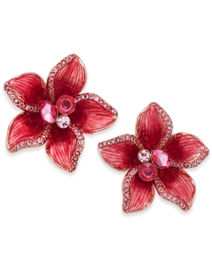 kate spade new york Gold-Tone Multi-Stone Pink Flower Stud Earrings