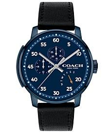 Men's Bleecker Black Leather Strap Watch 42mm