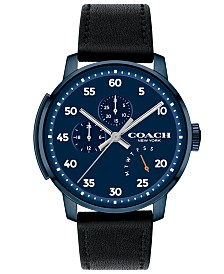 COACH Men's Bleecker Black Leather Strap Watch 42mm