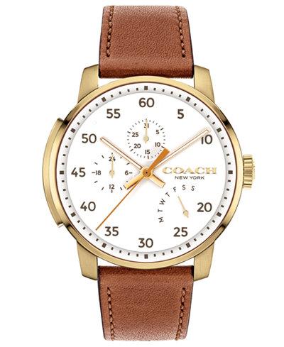 COACH Men's Bleecker Brown Leather Strap Watch 42mm