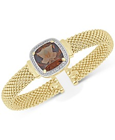 Smoky Quartz (10 ct. t.w.) & White Topaz (1/3 ct. t.w.) Mesh Bracelet in 14k Gold-Plated Sterling Silver