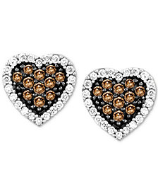 Le Vian Chocolatier® Diamond Heart Stud Earrings (3/8 ct. t.w.) in 14k White Gold