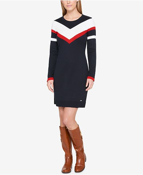 Tommy Hilfiger Colorblocked Sweater Dress