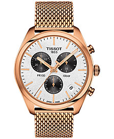 Tissot Men's Swiss Chronograph T-Classic PR 100 Rose Gold-Tone PVD Stainless Steel Mesh Bracelet Watch 41mm