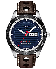 Tissot Men's Swiss Automatic T-Sport PRS 516 Powermatic 80 Brown Leather Strap Watch 42mm