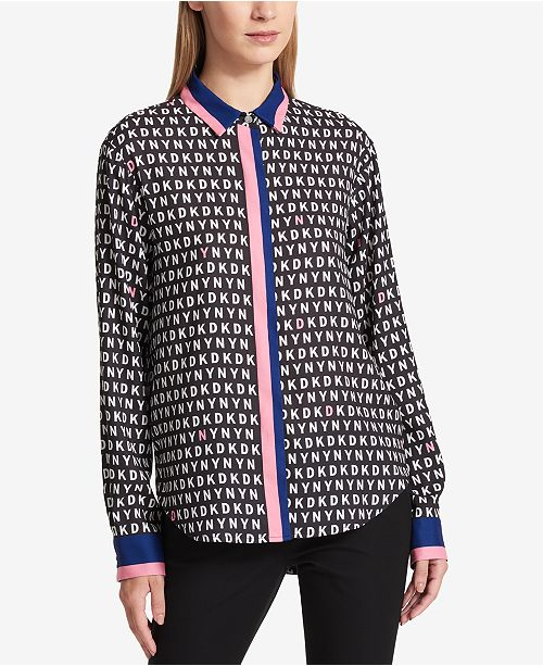 DKNY Mixed-Print Logo Shirt