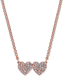 kate spade new york Pavé Double-Heart Pendant Necklace