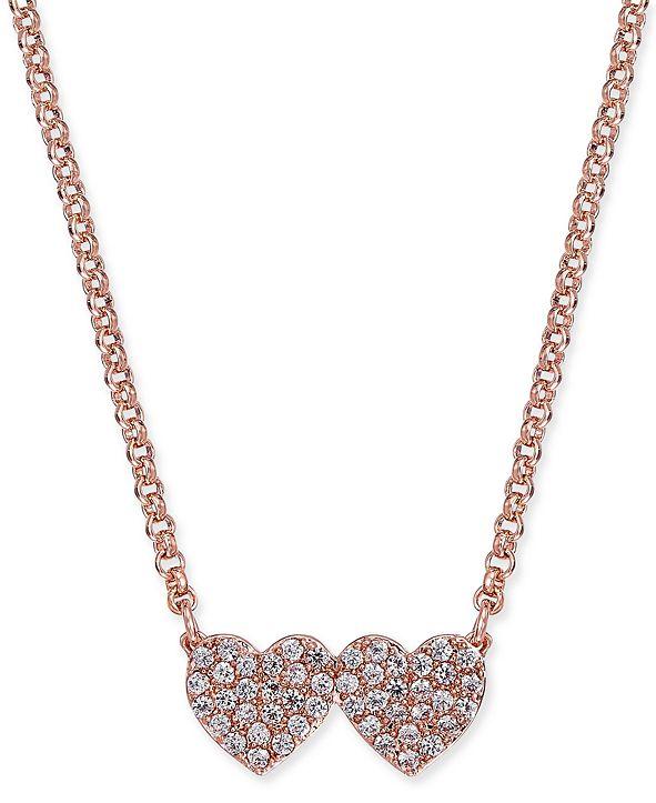 kate spade new york  Pavé Double-Heart Pendant Necklace