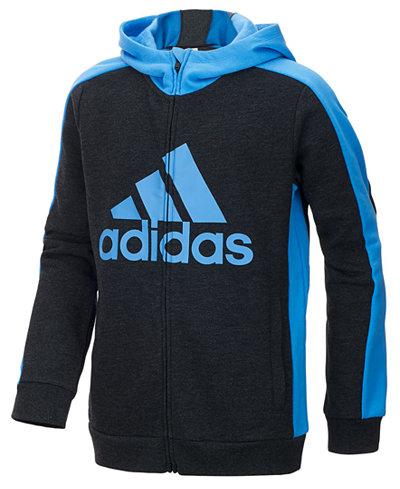 adidas Athletics Logo-Print Zip-Up Hoodie, Little Boys