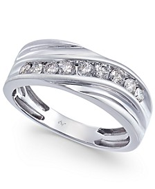 Men's Diamond Swirl 9mm Band (1/2 ct. t.w.) in 10k White Gold