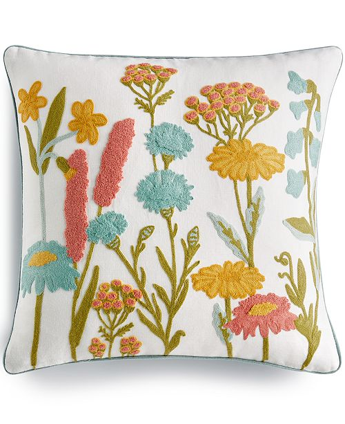 """Lacourte LAST ACT! Botanical Garden Embroidered 20"""" Square Decorative Pillow, Created for Macy's"""