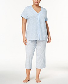 Plus Size Picot-Trim Cropped Pajama Set, Created for Macy's