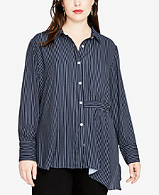 RACHEL Rachel Roy Trendy Plus Size High-Low Tunic Shirt