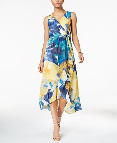 Sangria Faux-Wrap Maxi Dress, Regular & Petite Sizes