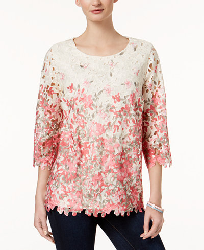 Charter Club Printed Lace-Overlay Top, Created for Macy's